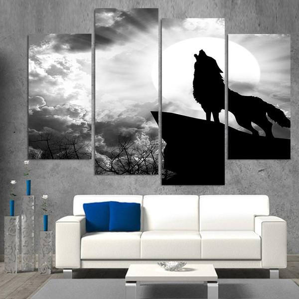 Acheter Pour Salon Moderne Oeuvre Decoration De La Maison Cadre 4 Panneau Animal Loup Mur Toile Peinture Affiche Hd Imprime Photos De 16 12 Du