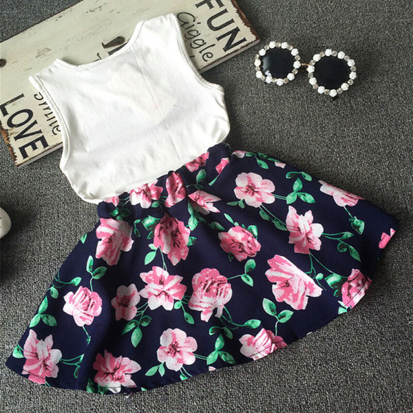 Summer Toddler Kids Baby Girl T shirt Tops+Floral Skirt Dress Outfit Clothes Set