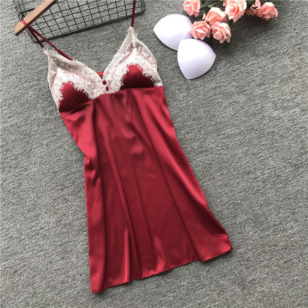 top popular 22019 new ladies sexy spring and summer straps nightdress with chest pad ice silk lace slim pajamas 2021