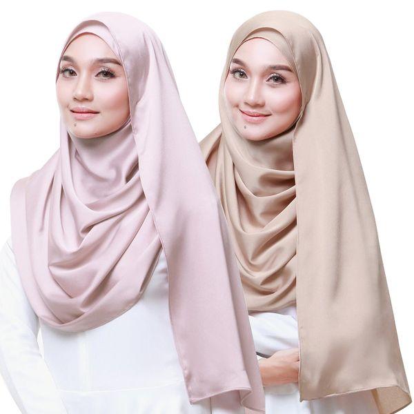 2019 Silk Blend femme musulmane Hijab écharpe de mode Malaisie arabe Couvre-chef Turban FOULARD Plain Color Wrap Islam Châle Foulard