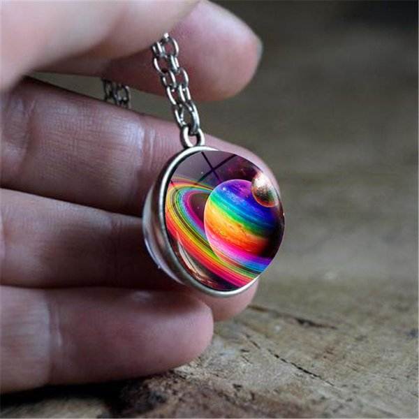 New Galaxy Double Sided Pendant Outer Space Necklace Universe Silver Jewelry Glass Pendant Art Picture Handmade Necklaces