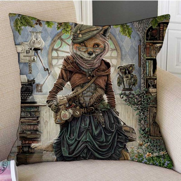 Lovely Fair Tale Alice in Wonderland Bunny Cat Hamster Owl Fox Art Drawing Cushion Cover Thick Linen Cotton Pillow Case 45X45cm Sofa Decor