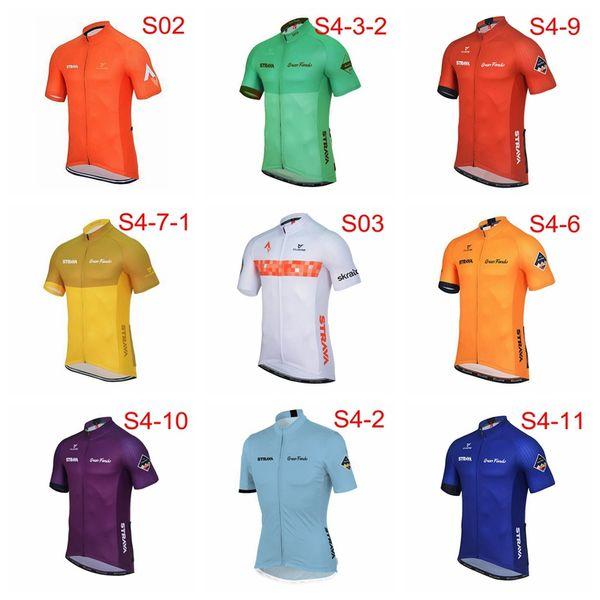 STRAVA equipe Camisa de Ciclismo Verão Respirável Mountain bike Vestuário de corrida de Bicicleta camisas dos homens Mangas Curtas Tops Sportswear Q71206