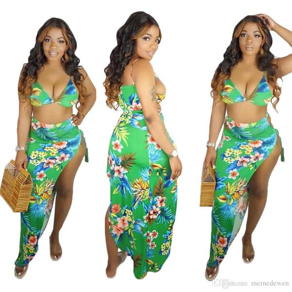 Stampa floreale due pezzi vestito boemo Sexy Wrap con scollo a V reggiseno Crop Top alta fessura Maxi Summer Beach Abiti Vestido Set NB-1341