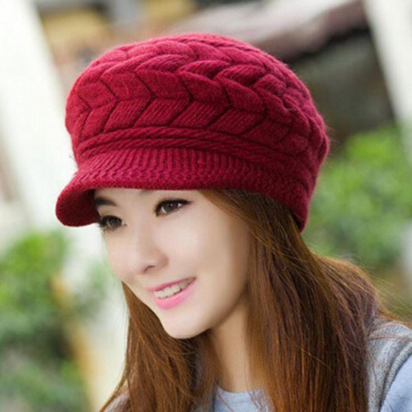 Femmes Laine Coton Mélange Bérets Mode Hiver Automne Couleur unie fils de laine Bonnet en maille Beret Casquette Beret Casquette gorras