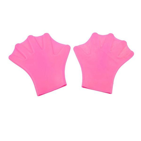 Accessoires de natation en silicone rose Gants palmés pagaies 2pcs
