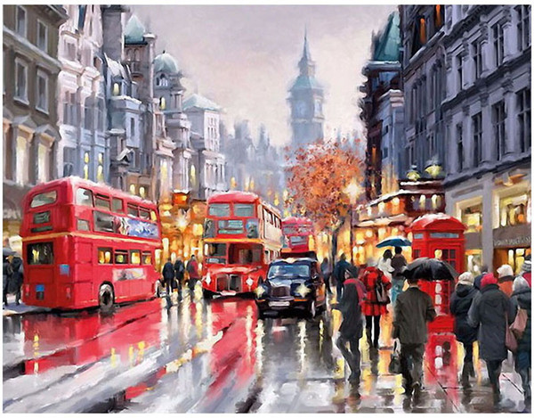 "best selling Oil Paint Kits Paint Adult Hand Painted DIY Painting By Numbers-Romantic bus 16""x20"""