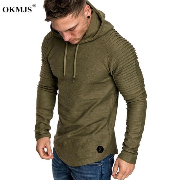 Hoodies del Mens 2019 di nuova marca di modo degli uomini di colore solido Felpa con cappuccio maschile Hip Hop dimensioni autunno-inverno con cappuccio Mens Pullover Inoltre