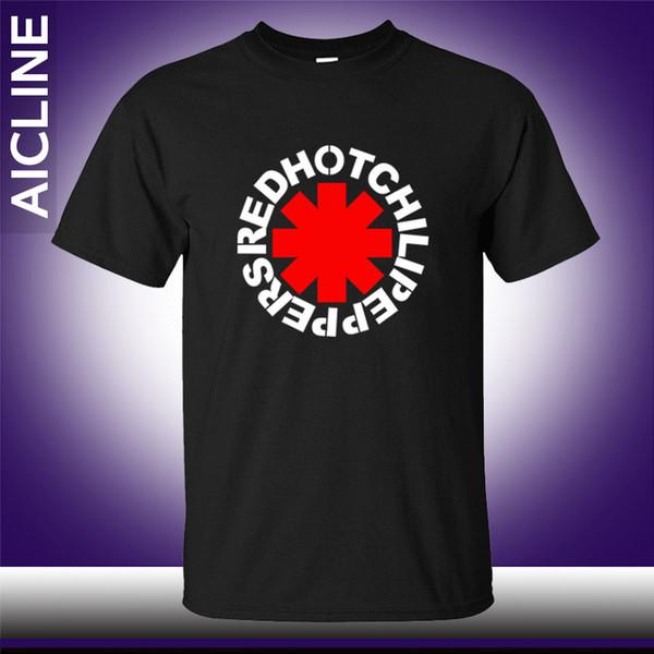 Sıcak nk Punk Rap Alternatif Kaya Ve Rulo Kırmızı Sıcak Biber biber T gömlek Erkekler Pamuk Baskı Siyah Kaya Müzik HIp Hop T-Shirt Tee