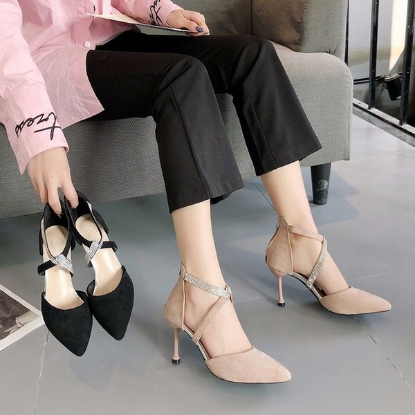 Fairy2019 Girl French High-heeled Shoes Season Sexy Temperament Rhinestone Crossing Bring Sharp Fine With Single Shoe