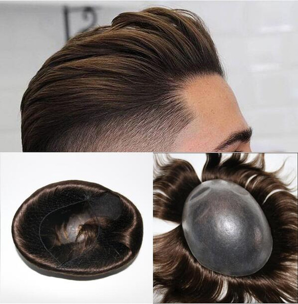 Silicone Wig Mens Hairpieces Straight Full PU Toupee Thin Skin Toupee Brazilian Virgin Remy Human Hair Replacement Wig for Men Free Shipping