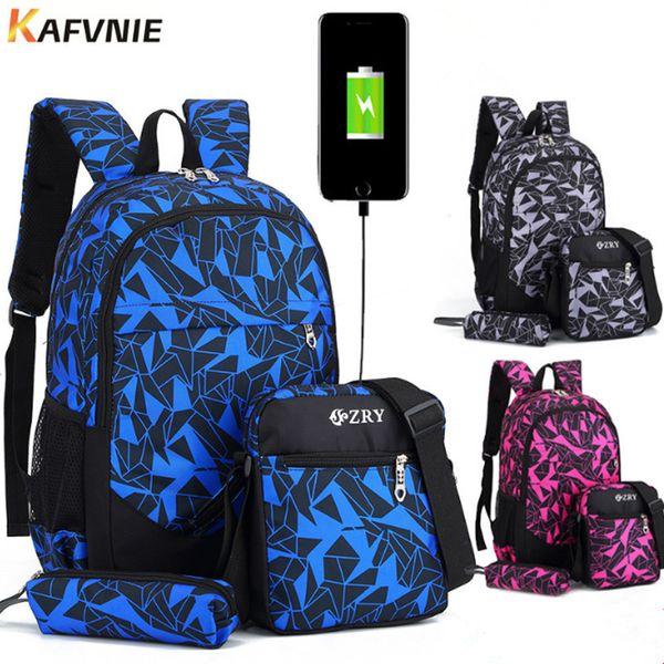 New 3pcs Usb Male Girl Backpack Bag Set Red And Blue High School Bag For Boys One Shoulder Big Men School Student Book Bags
