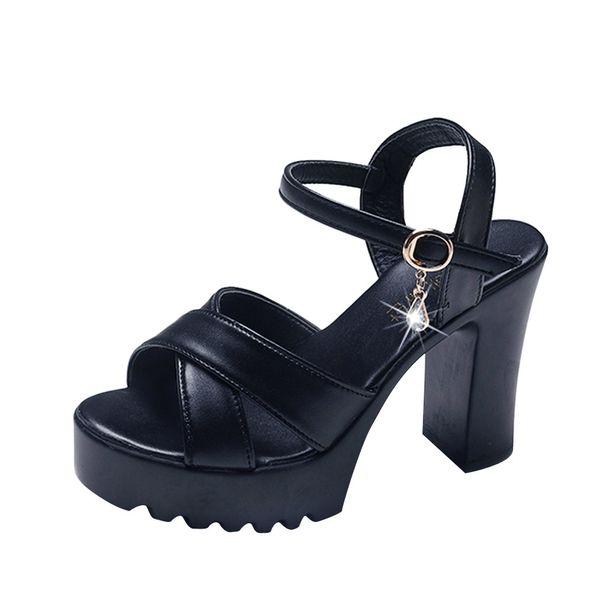 2019 Summer Red Wedge Platform Women High Heels Sandals Open Toe Fish Head Fashion Buckle Strap Sandals Shoes for Women