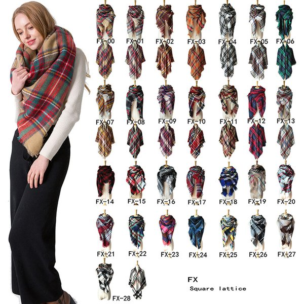 Autumn and winter Lady fashion accessories double-sided colorful lattice Pashmina 140cm square scarf air conditioning shawl CASHMERE Western