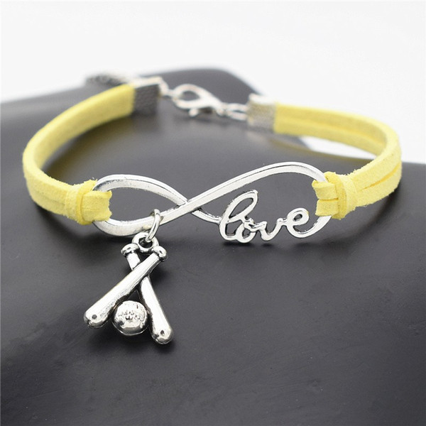 Yellow Leather Suede Rope Wrap Cuff Bracelets & Bangles for Women Men Infinity Love Baseball Sports PendantS DIY Charm Jewelry Gift pulseira