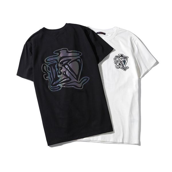 2019 novos das mulheres dos homens rua verão marca T-shirt da forma de homens de design europeu e americano do logotipo Medusa impressão de manga curta respirável