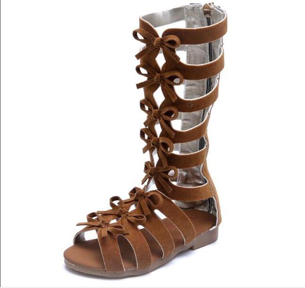 Long tube tube sandales gladiateur bottes en cuir de daim été brun noir haut haut mode romain enfant sandales enfant chaussures bébé