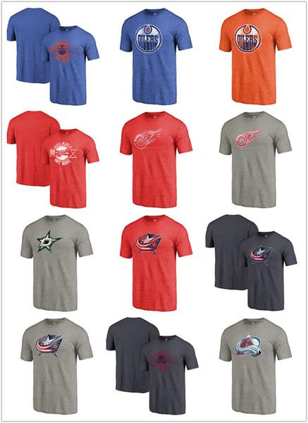 Herren 2020 Colorado Avalanche Columbus Blaue Jacken Dallas Stars Detroit Rote Flügel Edmonton Oilers Team Primär Logo Tri-Blend T-Shirt