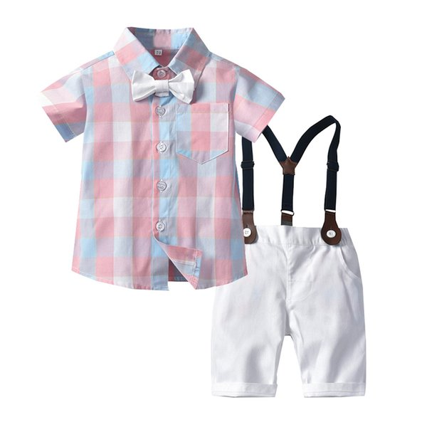 High quality Toddler Baby Boys Gentleman Bow Tie Plaid T-Shirt Tops+Shorts Overalls Outfits Summer Clothes Dropping Roupa Menino