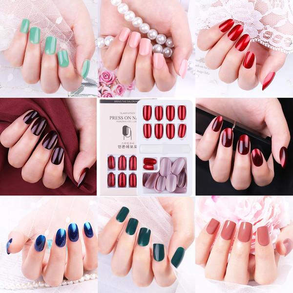 24pcs многоразовый Stick-On-Nails многоразовые Полное покрытие Ложные ногтей Искусственные Советы для украшения с Рассчитан Пресс на ногтях Art