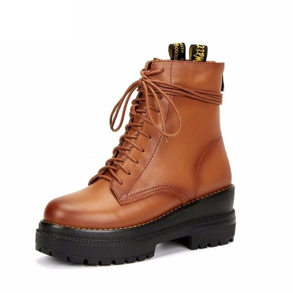 Autumn Winter2018 Fashion Punk Rock Motorycle AnkleBoots Genuine Leather Boots Women Martin Boots Lace Up Warm Shoes Woman