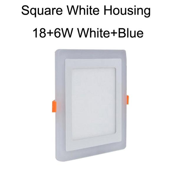 Square White Housing 18+6W White+Blue