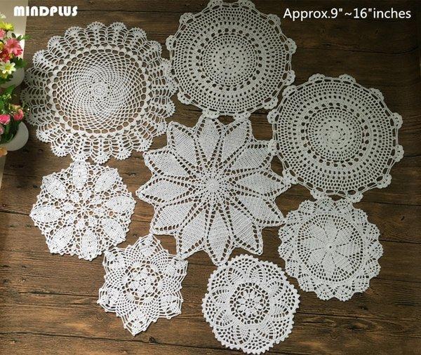 New 8Pcs 100% algodão Feito à Mão Crochet Doilies Copa Mat Pad Coaster Crochet Vintage motivos (9