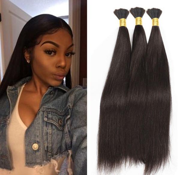 Em linha reta cabelo trança humana aparente Não há trama de seda em massa reta cabelo para trança brasileiro do cabelo humano Crochet trança