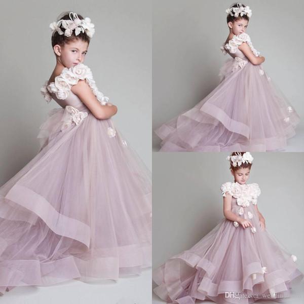 Florista de Nueva árabe floral de encaje vestidos de bola de los vestidos del niño del concurso de vestidos de tren largo Beautiful Little Kids FlowerGirl vestido Formal68