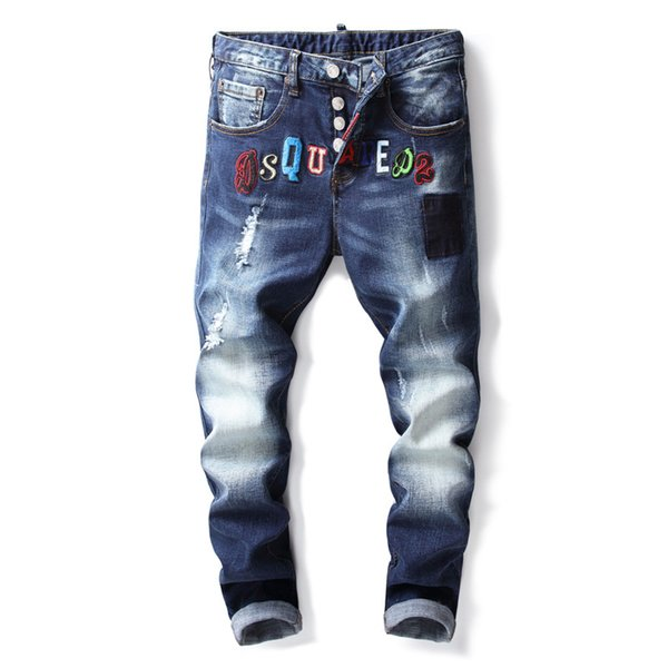 New Fashion Brand Mens Ripped Blue Jeans Straight Micro Elastic Denim Trousers With Embroidery Washed Button Fly pants 8911#