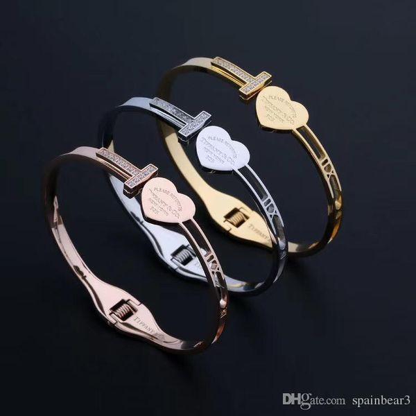 US New YorkT Brand Slap bangle Snap Brcelet stainless steel Adjustable Bangle 3 colours Silver Rose gold and Gold stylish titanium nice