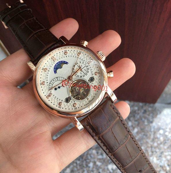 top popular New Fashion Swiss Watch leather Tourbillon Watch Automatic Men Wristwatch Men Mechanical steel Watches relogio masculino clock 2019
