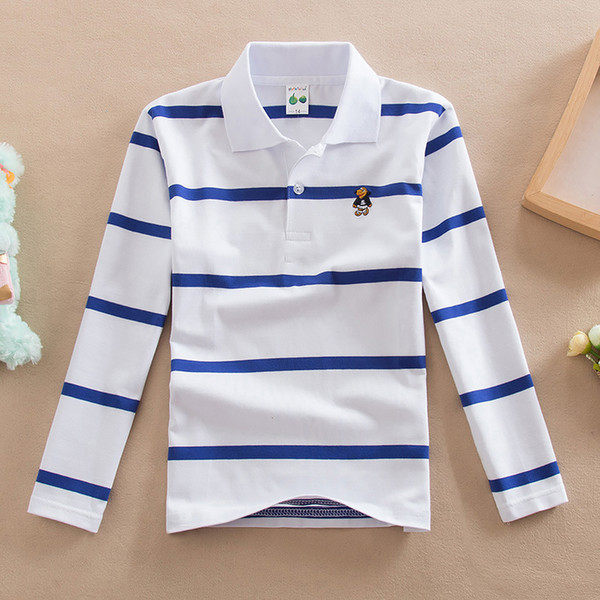 New Tops 2018 Kid T Shirts Spring Autumn Boys Long Sleeve Tshirt Cotton Striped Shirt For Children Turn-down Collar Clothes J190529