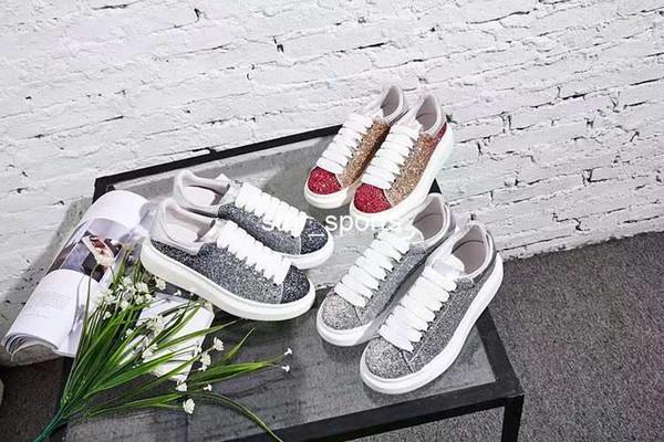 2018 Nueva Marca de Moda de Lujo Mujeres Hombres Zapatos de Diseñador, Zapatos Cómodos con Cordones Casuales Zapatillas de deporte de Diseño Eur 36-44