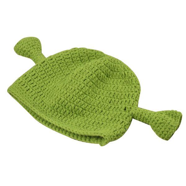 200PCS Novelty Shrek Funny Men Hat Knit Green Monster Skullies Hat With Ears Halloween Gift Hat Winter Beanie Skullies For Women Men