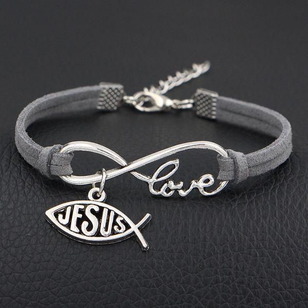Hot Sale Braided Gray Leather Rope Infinity Love Jesus God Cross Fish Pattern Bracelets Bangles New Personalise Women Men Alloy Best Jewelry