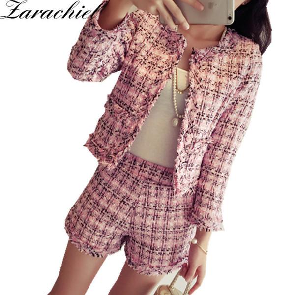 Autumn Winter Tweed 2 Piece Set Women Slim Plaid Short Set Fashion Fringed Trim Jacket Coat + Tassels Short Suit
