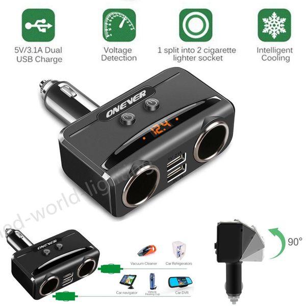 Car USB Cigarette Lighter Socket Splitter 12V-24V Power Adapter Max 5V 3.1A Dual USB Car Charger with Voltmeter LCD