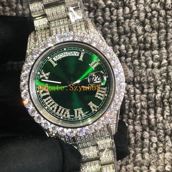 Relógio de Diamante Cheio de Iced out Watch Melhor Qualidade ETA 2836 Automático de 41MM Mens Hip-Hop Conjunto de Aço Inoxidável 316 Impermeável Big Diamond 8 Cor