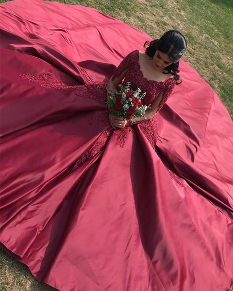 2019 Sexy Wine Red Wedding Dresses Ball Gown Scoop Neck Long Illusion Sleeves Big Train With lace Cheap Wedding Reception Dress bridal Gowns