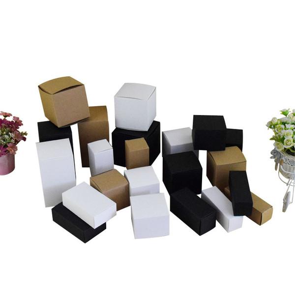 Крафт / Белый / Черный бланк Крафт-Бумага Коробка для Косметических клапанов труб Craft Свечи Подарочные Упаковочные Коробки