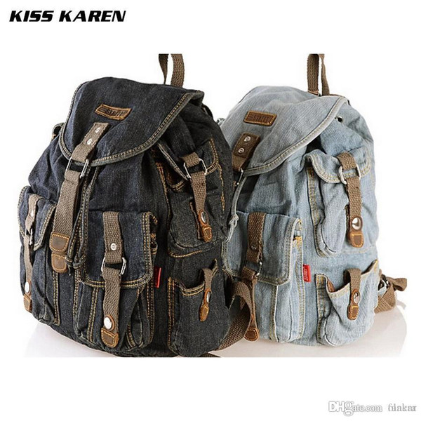 Wholesale- KISS KAREN Cowboy Fashion Denim Casual Daypacks Women Backpacks Retro Style Backpack Bags Jeans Bags Ladies Travel backpack Bags