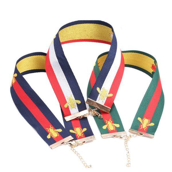 SIRODI Mode Nouveau Style Bijoux Vintage Abeille Broderie Ruban Clavicule Ras Du Cou Colliers Pour Femmes Chocker Collier collier mujer