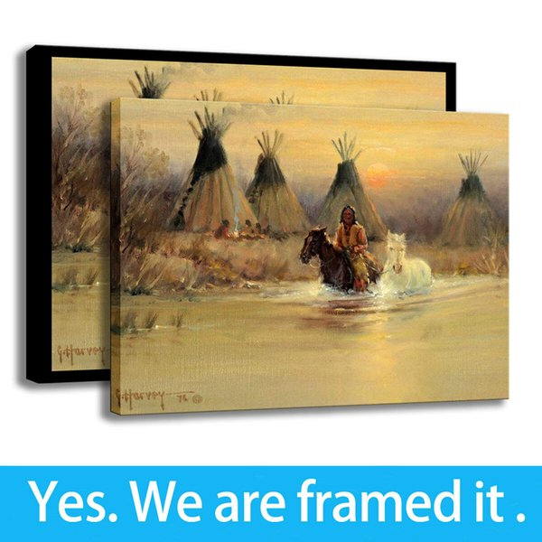 Modern Decor HD Print Canvas Painting Indians Wall Art Horse Tipi River - Ready To Hang - Framed