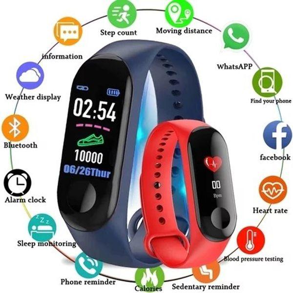 50pcs M3 Blood Pressure Oxygen Connected Watch Fitness Bracelet Activity Tracker Smart Watches Women IP67 Waterproof Sport Wristband