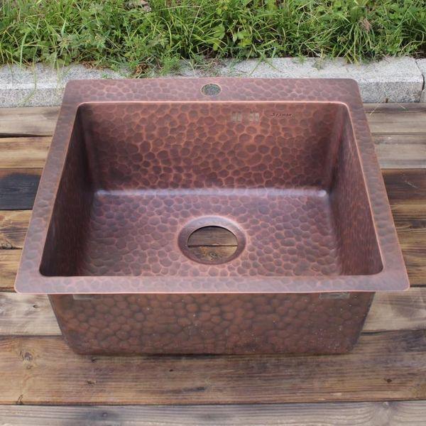 best selling Smooth surface copper bar sink Undermount sink single bowl copper kitchen sink