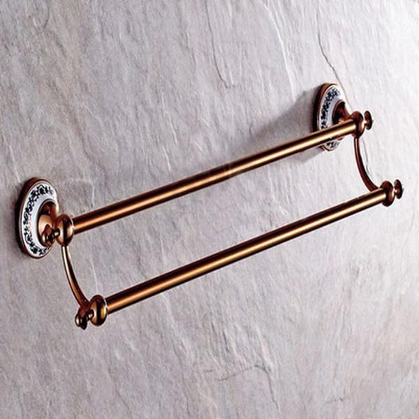 Europa Antique Rose Gold Brass Bath Hardware Set Wall Mounted acessório do banheiro escova de vaso sanitário suporte de toalha de prateleira banho de anel