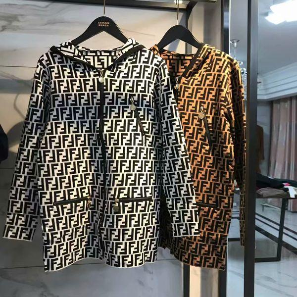 Stampa maglione donna Beat With Paragraph Autunno e inverno Nuovo modello Double F Jacquard Weave Cintura Cap Open Chest Loose Coat Knitting Wome