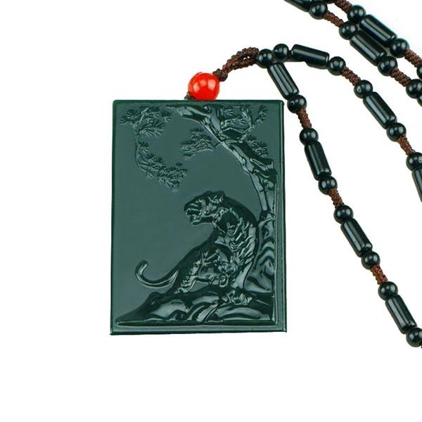 Joyería fina 100% puro jade verde natural tallado a mano afortunado riqueza hasta tigre colgante collar envío gratis