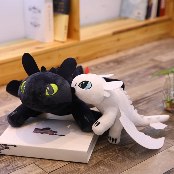 2pcs/lot 35cm Movie How To Train Your Dragon Toothless Dragon Toy Night Fury Light Fury Plush Toy Stuffed Anime Doll For Kids Y19062704